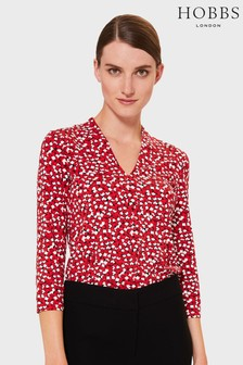 Hobbs Red Aimee Printed Top