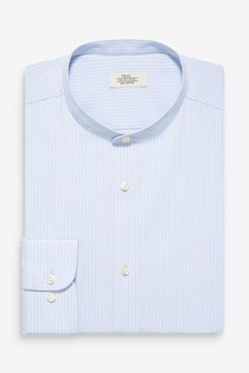 Slim Fit Single Cuff Striped Grandad Collar Shirt