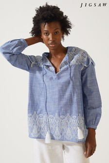 Jigsaw Blue Alma Chambray Broderie Blouse