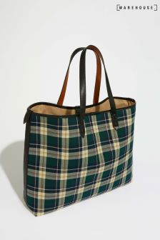 Warehouse Green Tartan Check Shopper