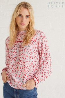 Oliver Bonas Pink Ditsy Tipped Top