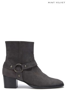 Mint Velvet Grey Pia Suede Stirup Cowboy Boot