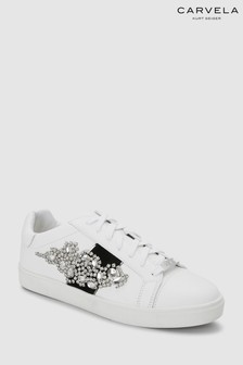 Carvela White Leather Lustre Embellished Trainer