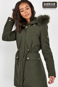 Barbour International Moto Green Clutch Parka