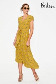 Boden Yellow Amy Midi Dress