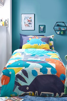 Bright Dino Reversible Duvet Cover and Pillowcase Set