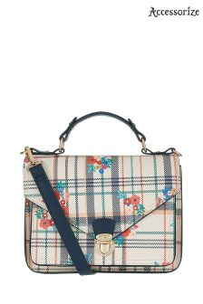 Accessorize Natural Preppy Check Floral Satchel