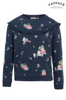 FatFace Navy Flower Print Crew Neck Sweat