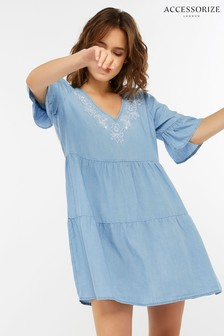 Robe trapèze en chambray brodée Accessorize bleue
