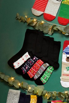 Christmas Footbed Socks Five Pack
