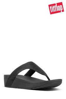FitFlop™ Black Lottie Toe Post Holiday Glitz Sandal