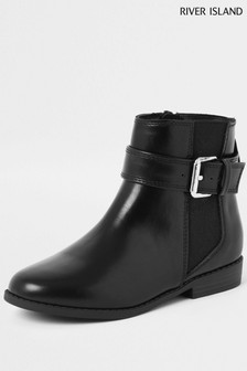 River Island Black Buckle Stud Flat Boot