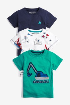 7855733ad24b Short Sleeve Appliqué Digger T-Shirts Three Pack (3mths-7yrs)