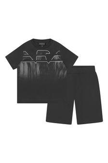 Emporio Armani Boys Black T-Shirt And Shorts Set