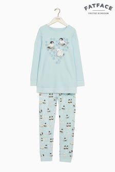 Fatface Blue Pippa Penguin Jersey Pyjama Set