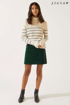 Jigsaw Green Velvet Mini Skirt