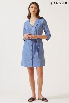 Jigsaw Blue Sylvia Button Beach Dress