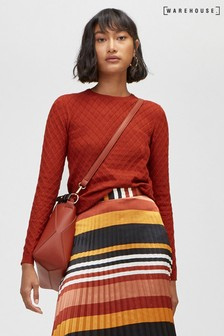 Warehouse Red Diamond Stitch Jumper