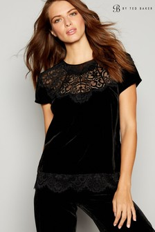 B by Ted Baker Black Olo Velvet Short Sleeve Top