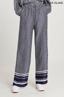 River Island Navy Monogram Wide Leg Pyjama Bottoms