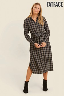 FatFace Blue Abbie Check Midi Shirt Dress