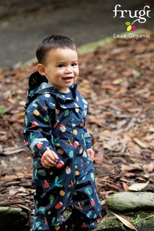 Frugi Navy Bugs Recycled Polyester Puddle Suit