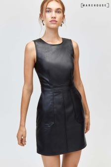 Warehouse Black Pocket Detail PU Dress