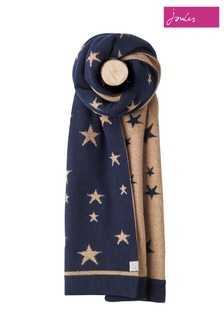 Joules Navy Star Intarsia Knitted Scarf
