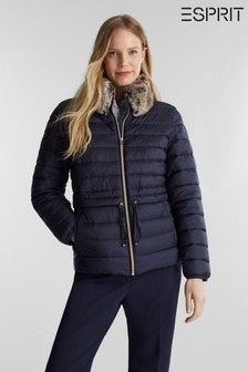 Esprit Blue Short Thinsulate Outdoor Jacket With Detachable Faux Fur Hood