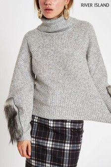 River Island Grey Faux Fur Sleeve Detail Roll Neck Jumper