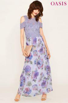 Oasis Grey Lace Cold Shoulder Hydrangea Maxi Dress