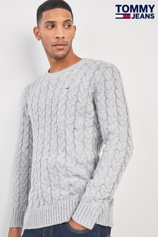 Tommy Jeans Grey Cable Knit Sweater