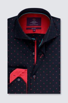 Hawes And Curtis Navy And Fuchsia Woven Design Cuff Shirt