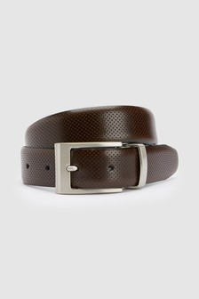 Reversible Leather Perforated And Plain Belt