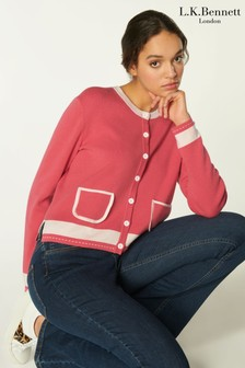 L.K.Bennett Pink Liv Cardigan With Pocket & Stitch Detail