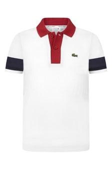 Boys Cotton White Short Sleeves Polo Top