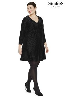 Studio 8 Black Vivian Velvet Tunic Dress