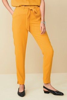 Belted Crepe Trousers