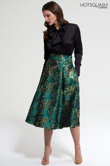 HotSquash Green Brocade Midi Skirt