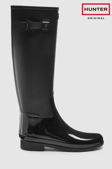 Hunter Black Refined Duo Gloss Tall Welly