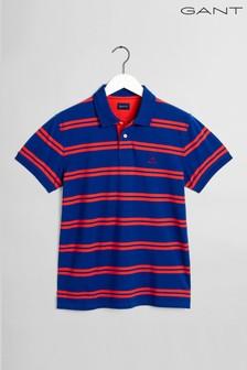 GANT Blue Contrast Stripe Collar Poloshirt