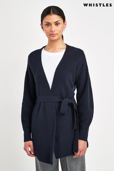 Whistles Navy Fashion Detail Wool Cardigan