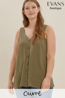 Evans Light Green Curve Button Through Cami