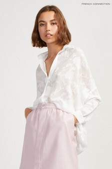 French Connection White Clarita Fil Coupe Pop Over Shirt