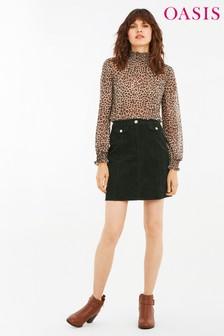 Oasis Deep Green Cord Mini Skirt