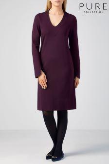 Pure Collection Purple Ponte V-Neck Dress