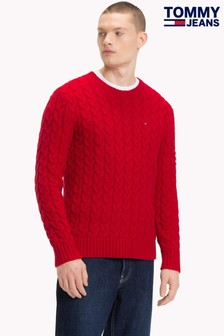 Tommy Jeans Pullover mit Zopfmuster, rot