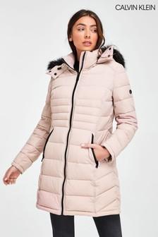 Calvin Klein Pink Stretch Down Coat