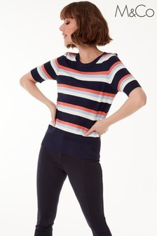 M&Co Blue Short Sleeve Block Stripe Jumper