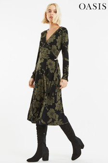 Oasis Green Bloom Wrap D-Ring Dress